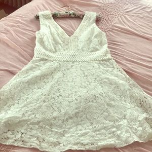 Cream lace formal cocktail dress